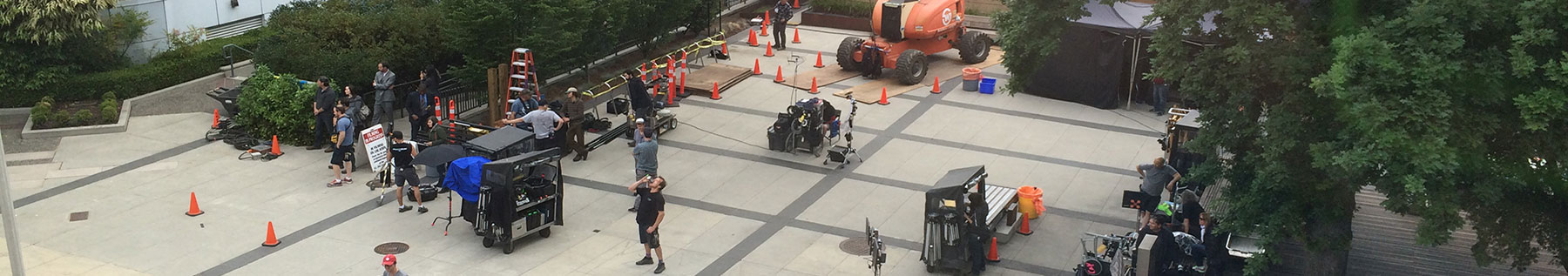 Filming in Civic Plaza