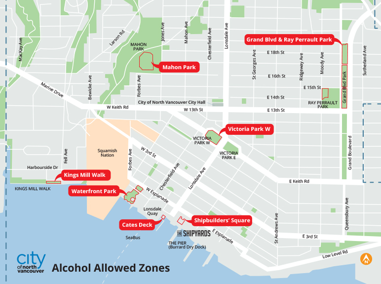 Alcohol Permitted Zones in the City of North Vancouver