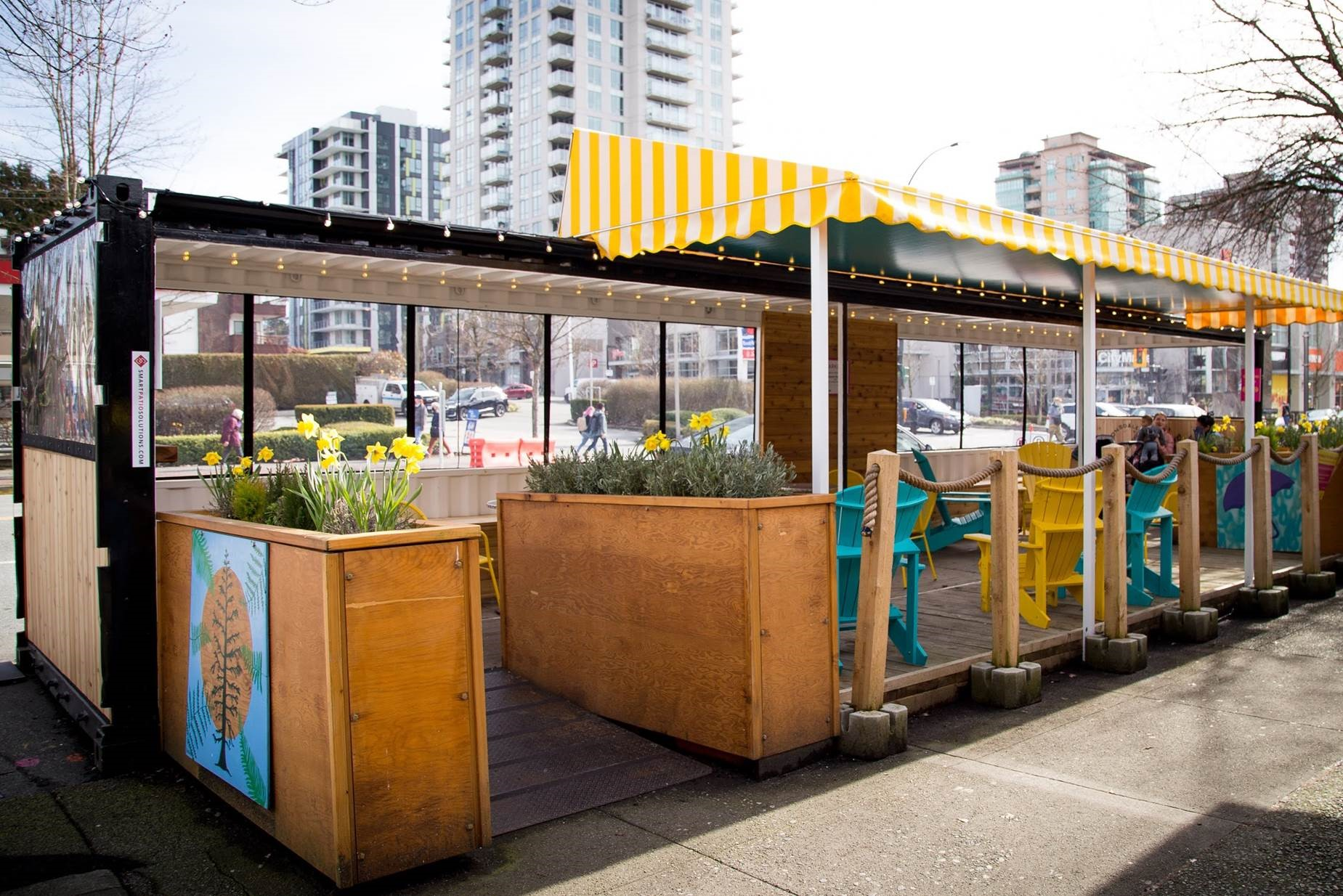 Shipping Container Parklet under construction