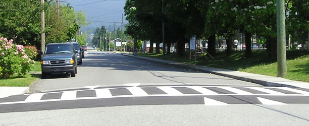 Raised crosswalk in the City of North Vancouver